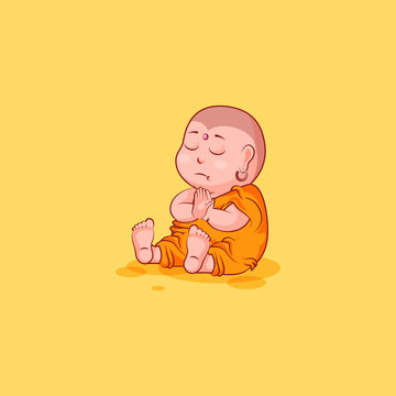 Sticker emoji emoticon emotion vector isolated illustration unhappy character cartoon meditate Buddha