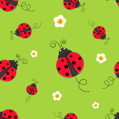Keuken foto achterwand Lieveheersbeestjes Seamless background with ladybug. A simple pattern. Ladybird on a green background. Vector illustration.