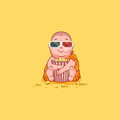 Sticker emoji emoticon emotion vector isolated illustration unhappy character cartoon Buddha chewing popcorn watching movie