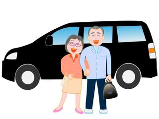 シニア夫婦の車での旅行