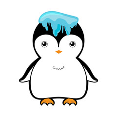 cute penguin with ice on head vector illustration cartoon