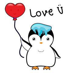 cute penguin with ice on head and red balloon in a heart shape vector illustration cartoon