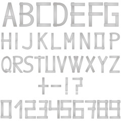Metal english letters, alphabet, numbers folded from gray strips on white background. Isolated vector illustration in metal style. Exclamation point, question mark, plus, minus.