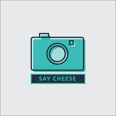 Vector image of camera with text say cheese