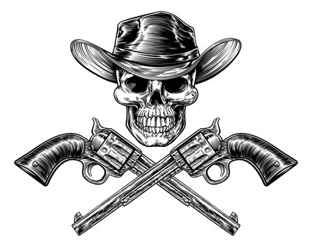 Sheriff Star Hat Skull and Pistols
