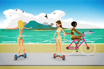 Young women in bikini ride gyroscopes and bicycles along the pat