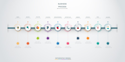 Vector infographics timeline design template with 10 option and integrated circles background. For content, business, infographic, diagram, digital network, flowchart, process diagram, time line