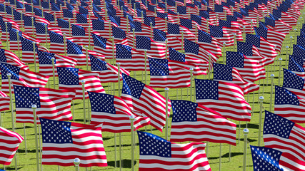 Many American flags on display for Memorial Day or July 4th. Three dimensional rendering 3D illustration