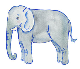 Cute cartoon elephant painted in watercolor on clean white background