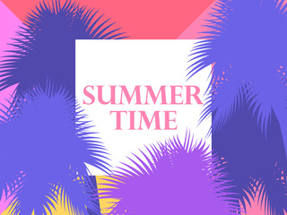 Summer time. Background with palm trees. Vector illustration