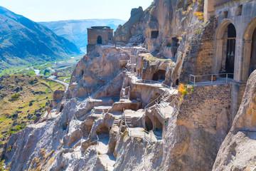 Photo sur Aluminium Népal Vardzia cave monastery and ancient city in mountain rocks aerial panorama, Georgia