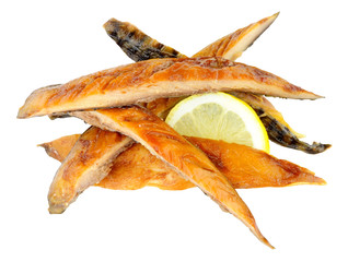 Hot smoked mackerel fish strips isolated on a white background