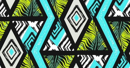 Hand drawn vector abstract freehand textured seamless tropical pattern collage with zebra motif,organic textures,triangles isolated on black background.Wedding,save the date,birthday,fashion