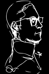 vector clipart adult man with glasses in profile