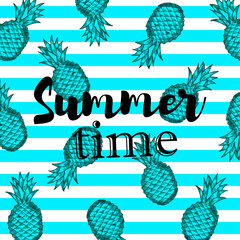 Summer time background with hand draw blue pineapples