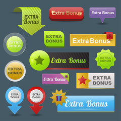 Colorful website extra bonus buttons design vector illustration glossy graphic label template banner.