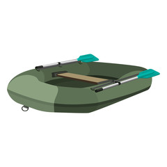 Inflatable dark green boat with two paddles and seat, vector
