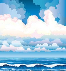 Sea with waves and cloudy sky