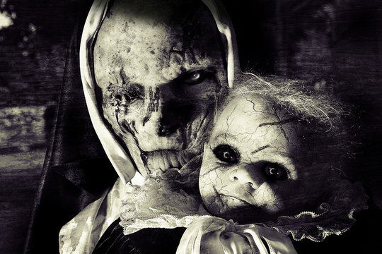 scary horror woman and child