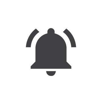 Bell icon in black on a white background. Vector illustration