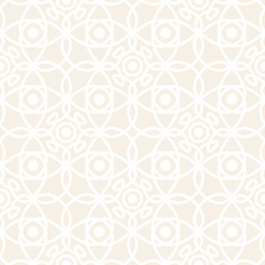 Seamless vector pattern with symmetric ornament. Abstract subtle geometric rounded lines background in pastel color.