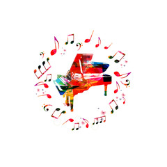 Music instrument background. Colorful piano with music notes isolated vector illustration