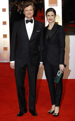 Actor Colin Firth and his wife Livia Giuggioli arrive for the BAFTA awards ceremony in London