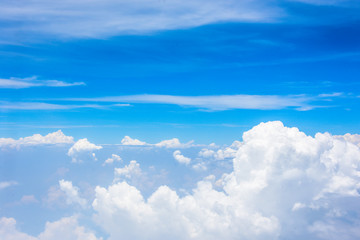 wing airplane on the sky blue and white cloud