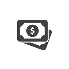 Money icon in black on a white background. Vector illustration