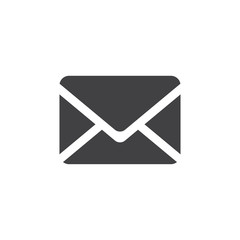 Envelope icon in black on a white background. Vector illustration