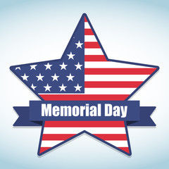 Memorial Day with star in USA national flag colors. Vector illustration