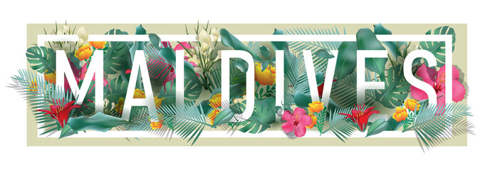 vector floral framed typographic MALDIVES city artwork Wall mural