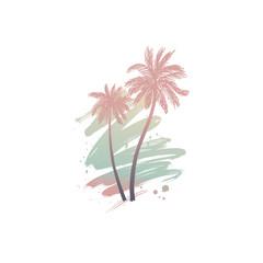 Hand drawn palm trees