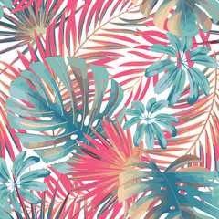 Summer exotic floral tropical palm, monstera leaves in pink and blue colors. Vector seamless pattern. Plant nature wallpaper