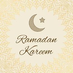 Ramadan Kareem greeting card with half moon and star