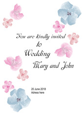 Wedding invitation with pink and blue watercolor flowers