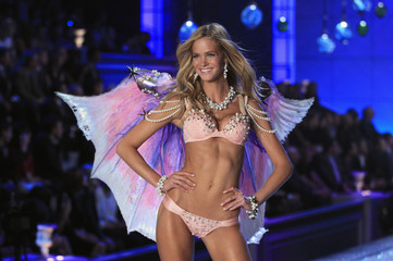 A Victoria's Secret model presents a creation during the Victoria's Secret Fashion Show in New York