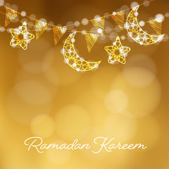 Garlands with decorative moons, stars, lights and party flags. Vector illustration card, invitation for Muslim community holy month Ramadan Kareem. Golden festive blurred background.