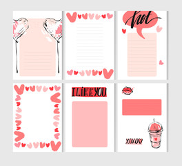 Hand drawn vector abstract creative Valentines day cards template set collection in pink pastel colors with graphic trendy fashion chic elements isolated on white background.Journaling,save the date