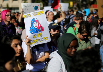 College students at the University California San Diego demonstrate against President Donald Trump's current immigration orders in La Jolla, California