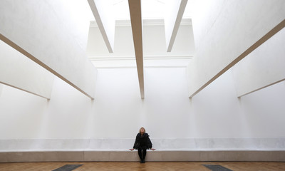 Architect Yvonne Farrell from Grafton Architects poses inside her installation for the 'Sensing Spaces: Architecture Reimagined' exhibition at the Royal Academy of Arts in London