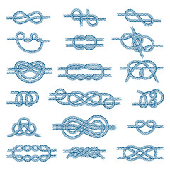 Sea boat knots vector set illustration isolated on white