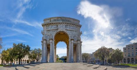 GENOA (GENOVA), ITALY, MAY 05, 2017 - The arch of triumph,  the victory arch of Victory Square, Piazza della Vittoria in city center of Genoa, Italy