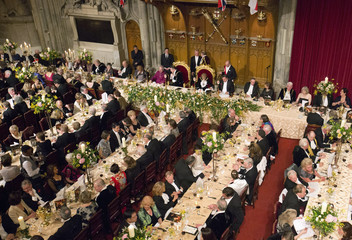 Dignitaries listen to speeches during the Lord Mayor's Banquet at the Guildhall in the City of London
