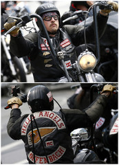"""Combination picture shows a member of motorcycle club """"Hells Angels"""" as he takes part in the """"Crime City Run"""" in Frankfurt"""