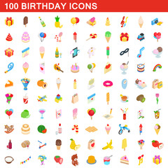 100 birthday icons set, isometric 3d style