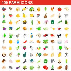 100 farm icons set, isometric 3d style