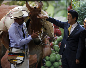 Japan's PM Abe talks with Colombian coffee icon Juan Valdez at the Colombian Coffee Growers Federation building in Bogota