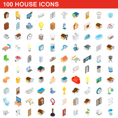 100 house icons set, isometric 3d style