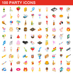 100 party icons set, isometric 3d style
